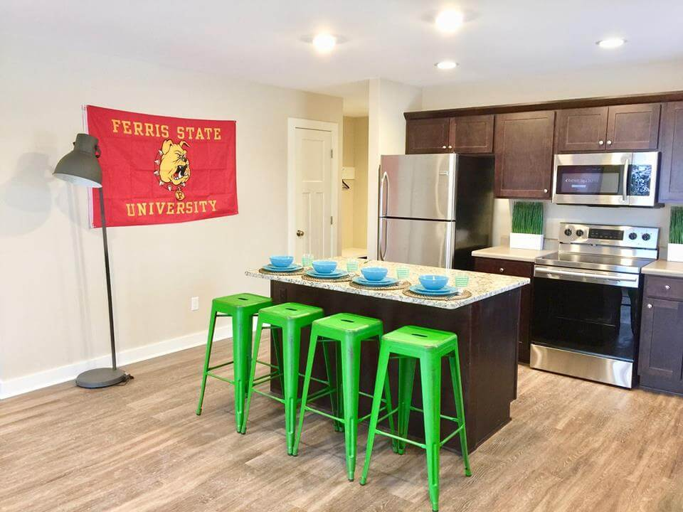 Campus Creek Cottages Big Rapids MI Stainless Steel Appliances Granite Counters